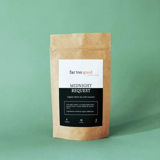 ceai negru organic cu fulgi de nuca de cocos