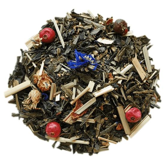 ceai verde organic cu flori de soc si merisoare